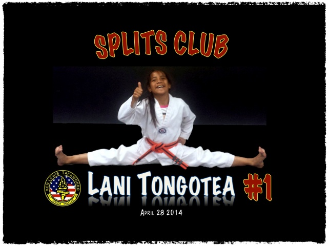 1st Splits Club Member...Congratulation's to Lani...Orange Belt Decided!