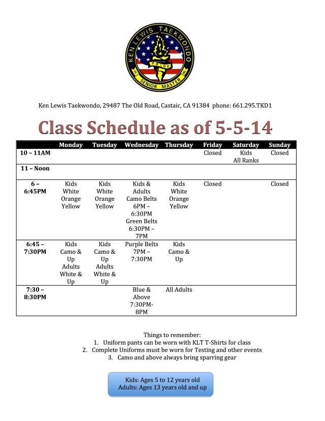 Class Schedule as of 5-5-14 Wednesday Classes Added